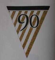 90th Birthday Paper Bunting - White, Black and Gold