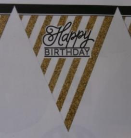 Happy Birthday Paper Bunting - White, Black and Gold