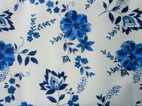 Blue Flower Linen Feel Tablecloth