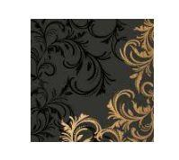 Celebration Gold and Black Scroll Linen Feel Dinner Napkins