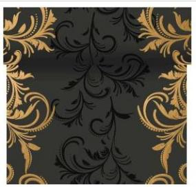 Celebration Gold and Black Scroll Paper Table Runner