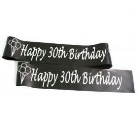 Black and Silver 30th Birthday Satin Banner - Balloons
