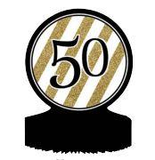 50th Birthday Black, White and Gold Table Decoration