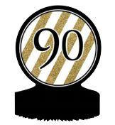 90th Birthday Black, White and Gold Table Decoration