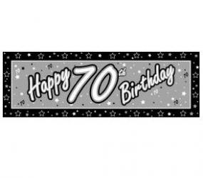 70th Birthday Giant Banner - Black and Silver