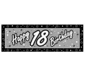 18th Birthday Giant Banner - Black and Silver