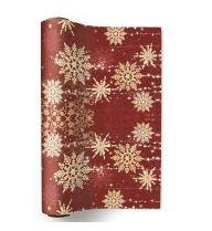 Red and Gold Paper Christmas Table Runner - Golden Snowflakes