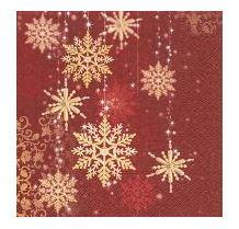 Red Christmas Party Lunch Napkins - Golden Snowflakes