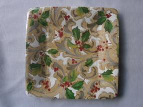 Paper Side Plates - Holly and Scroll by Caspari