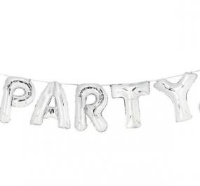 Large Silver 'PARTY' Balloon Bunting