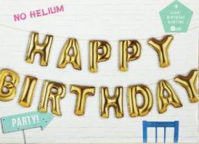 Large Gold Birthday Balloon Bunting