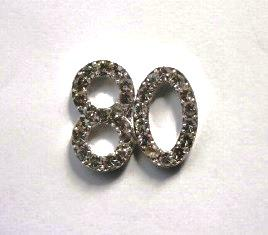 Small Diamante 80th Birthday Cake Decoration