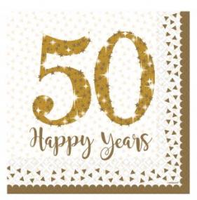 50th Golden Wedding Anniversary 50 Happy Years 2 ply Paper Napkins x 16