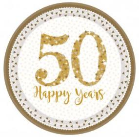 50th Golden Wedding Anniversary 50 Happy Years Paper Plates