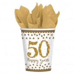 50th Golden Wedding Anniversary 50 Happy Years Paper Cups