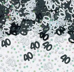 40th Birthday Black and Silver Table Confetti