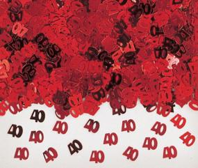 40th  Ruby Wedding Anniversary Table Confetti 40s and Hearts