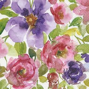 Watercolour Flowers Luncheon Napkins