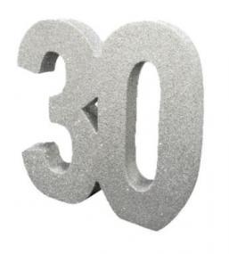 30th Pearl Anniversary Silver Glitter Table Decoration