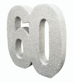 60th Diamond Anniversary Silver Glitter Table Decoration