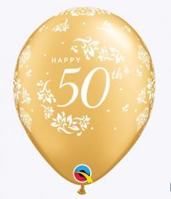 50th Celebation Latex Balloons x 6