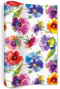 Watercolour Pansies Design Paper Table Runner